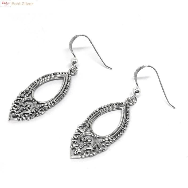 Zilveren vintage style oorhangers-3