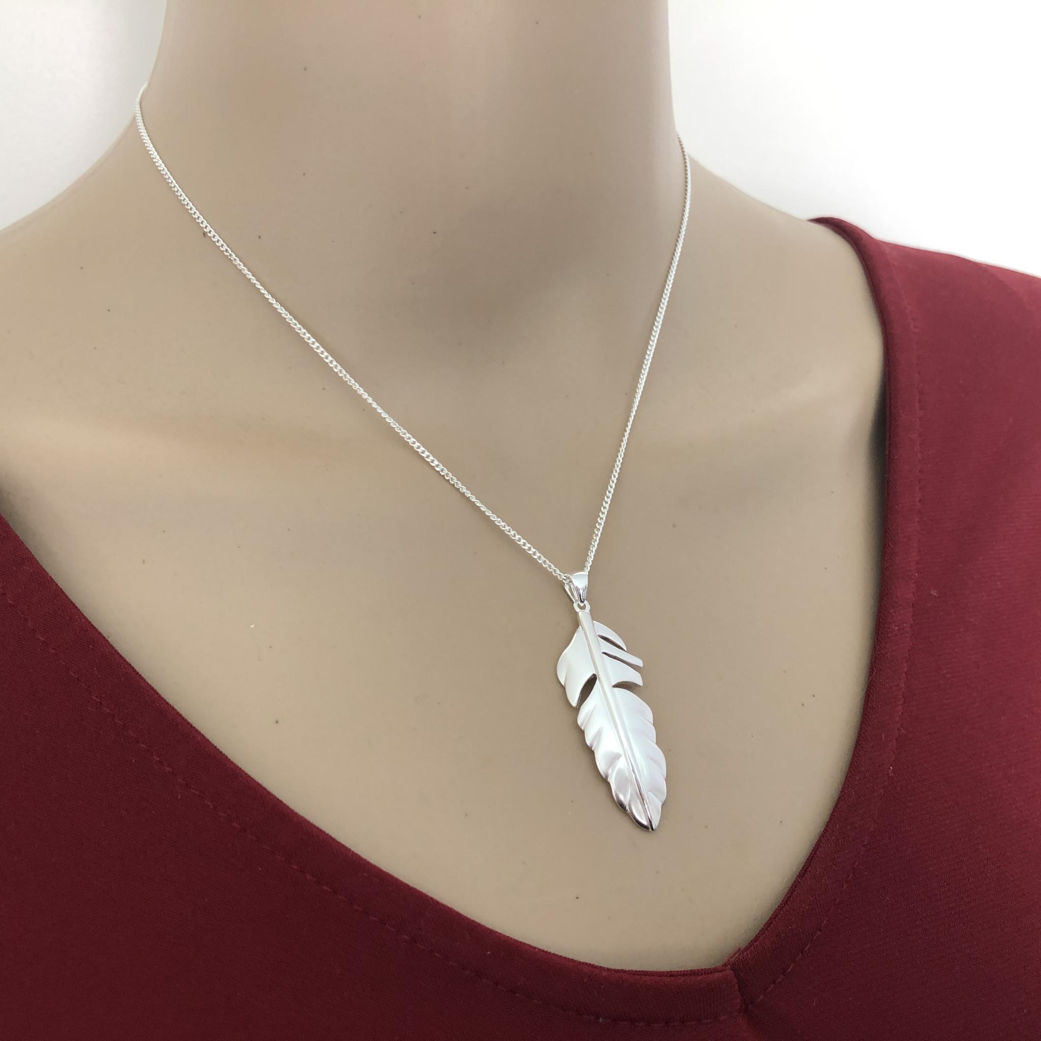 Mat zilveren veer kettinghanger-4