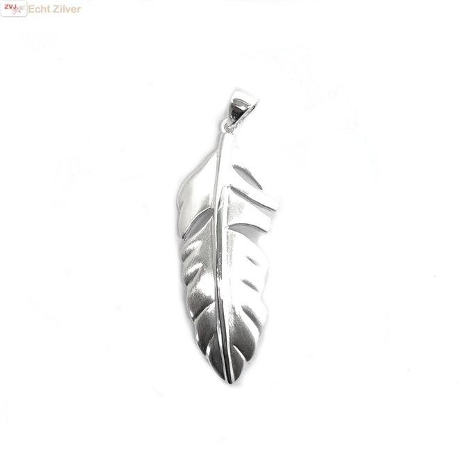 Mat zilveren veer kettinghanger