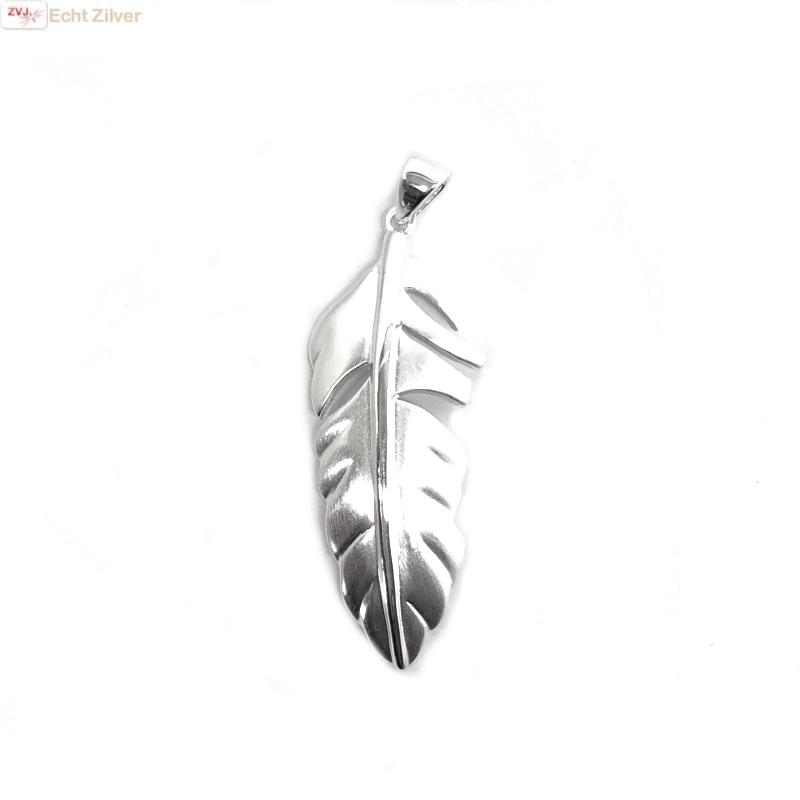 Mat zilveren veer kettinghanger-3