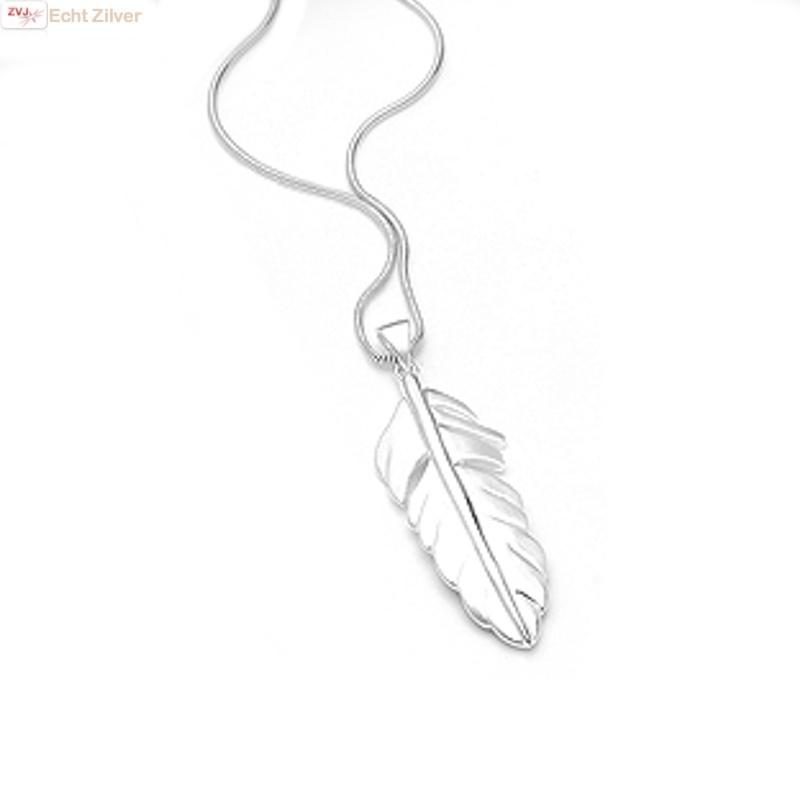 Mat zilveren veer kettinghanger-5