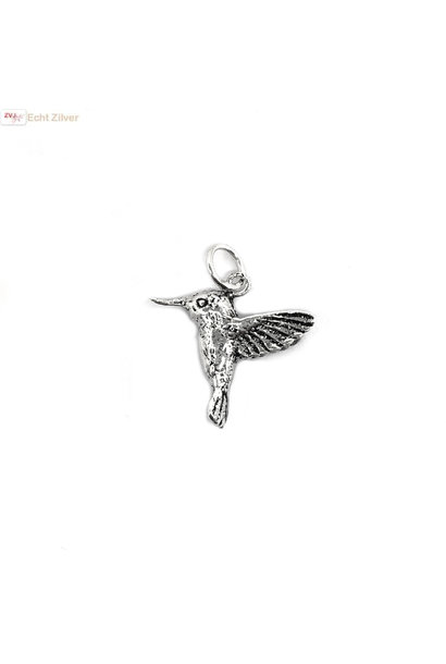 Zilveren kolibrie vogel kettinghanger