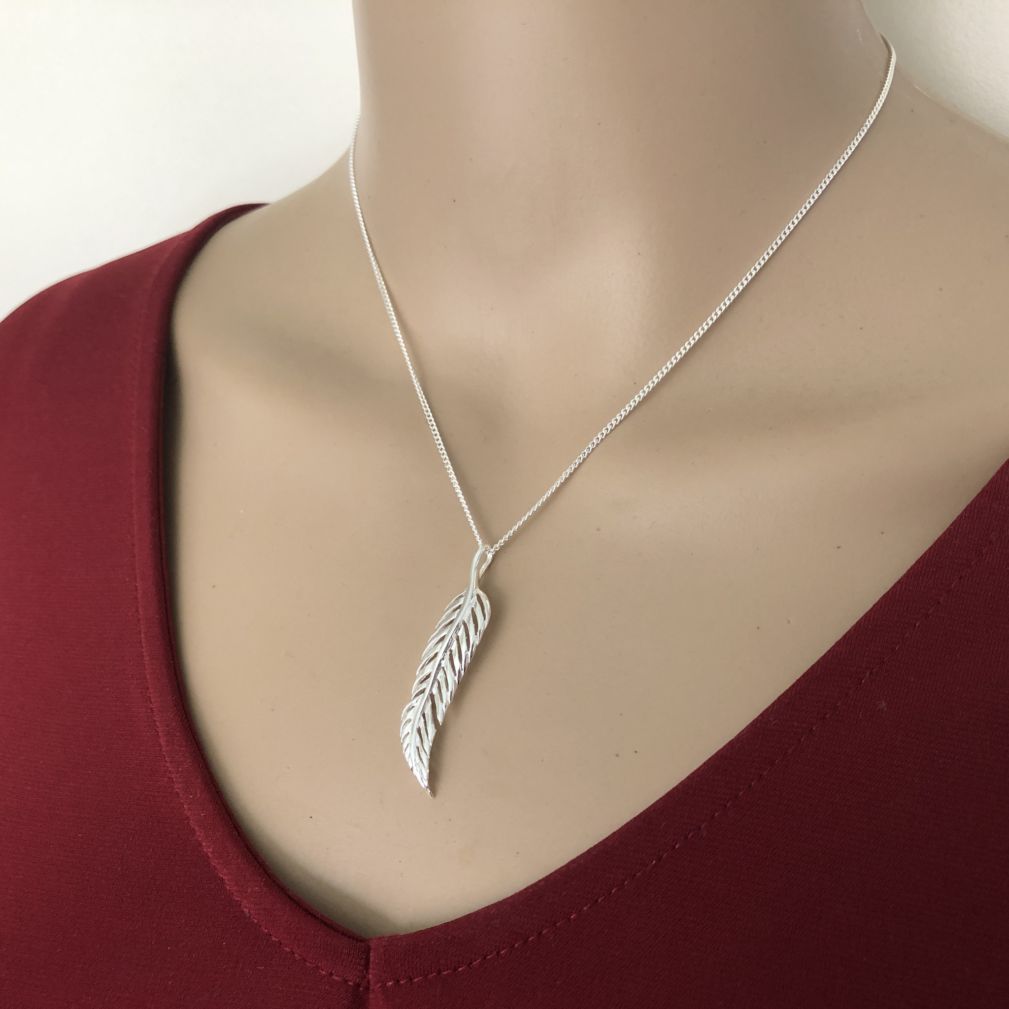 Zilveren veer kettinghanger-4