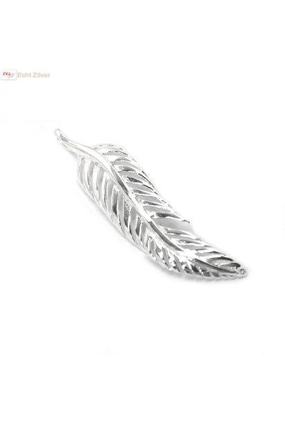 Zilveren veer kettinghanger