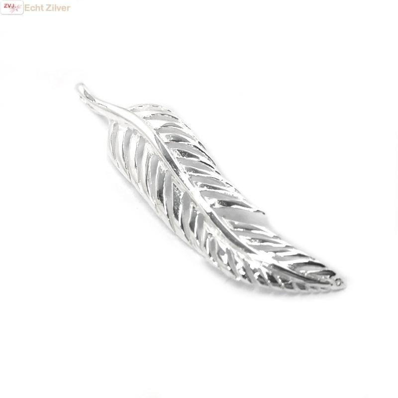 Zilveren veer kettinghanger-1