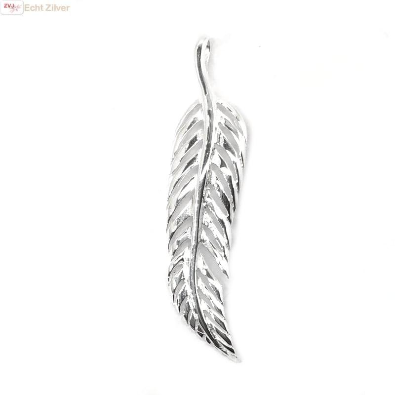 Zilveren veer kettinghanger-5