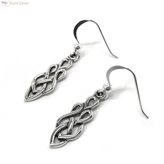 Zilveren Keltische sierlijke knoop oorhangers