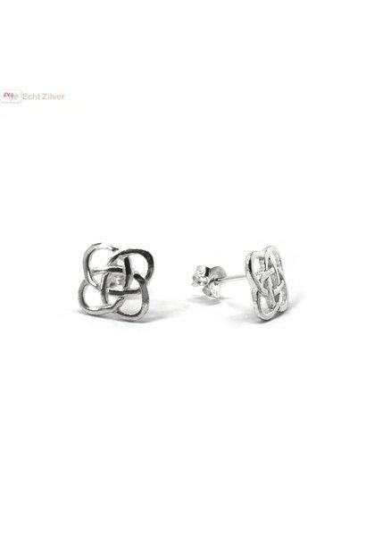 Zilveren Keltische square oorstekers