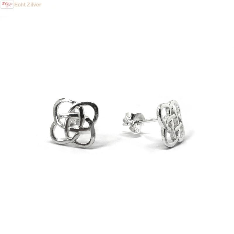 Zilveren Keltische square oorstekers-1
