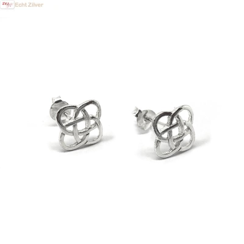 Zilveren Keltische square oorstekers-4