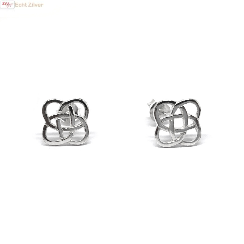Zilveren Keltische square oorstekers-3