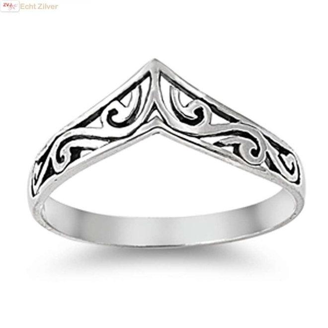 Zilveren swirl chevron ring