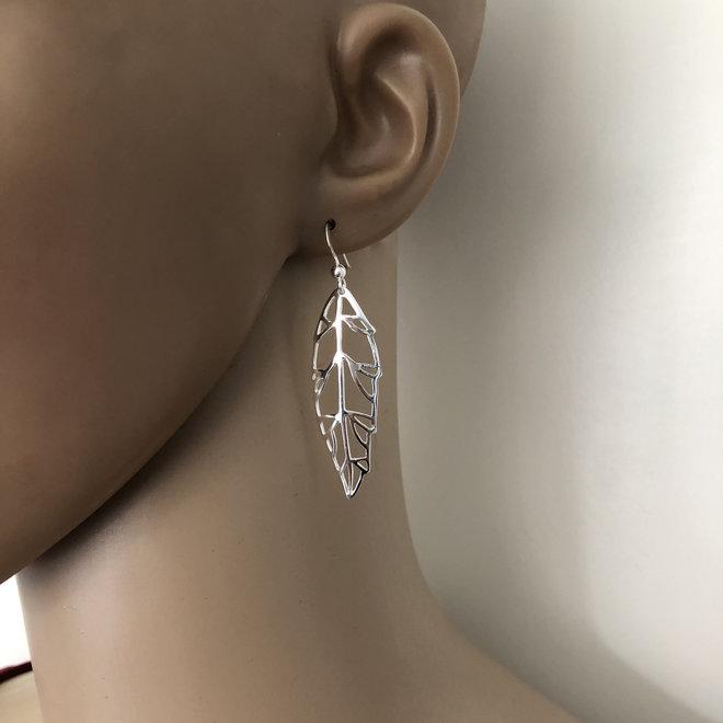Zilveren groot blad oorhangers