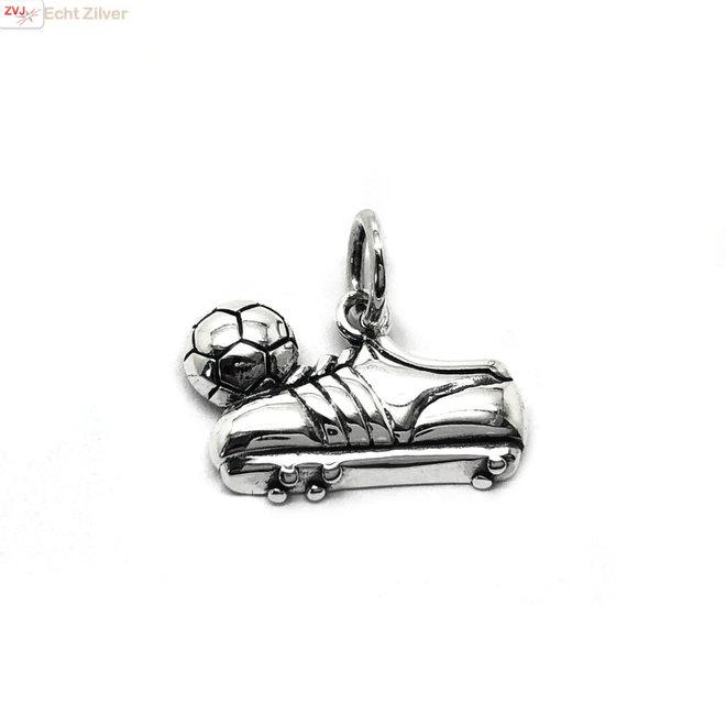 Zilveren voetbalschoen en bal kettinghanger