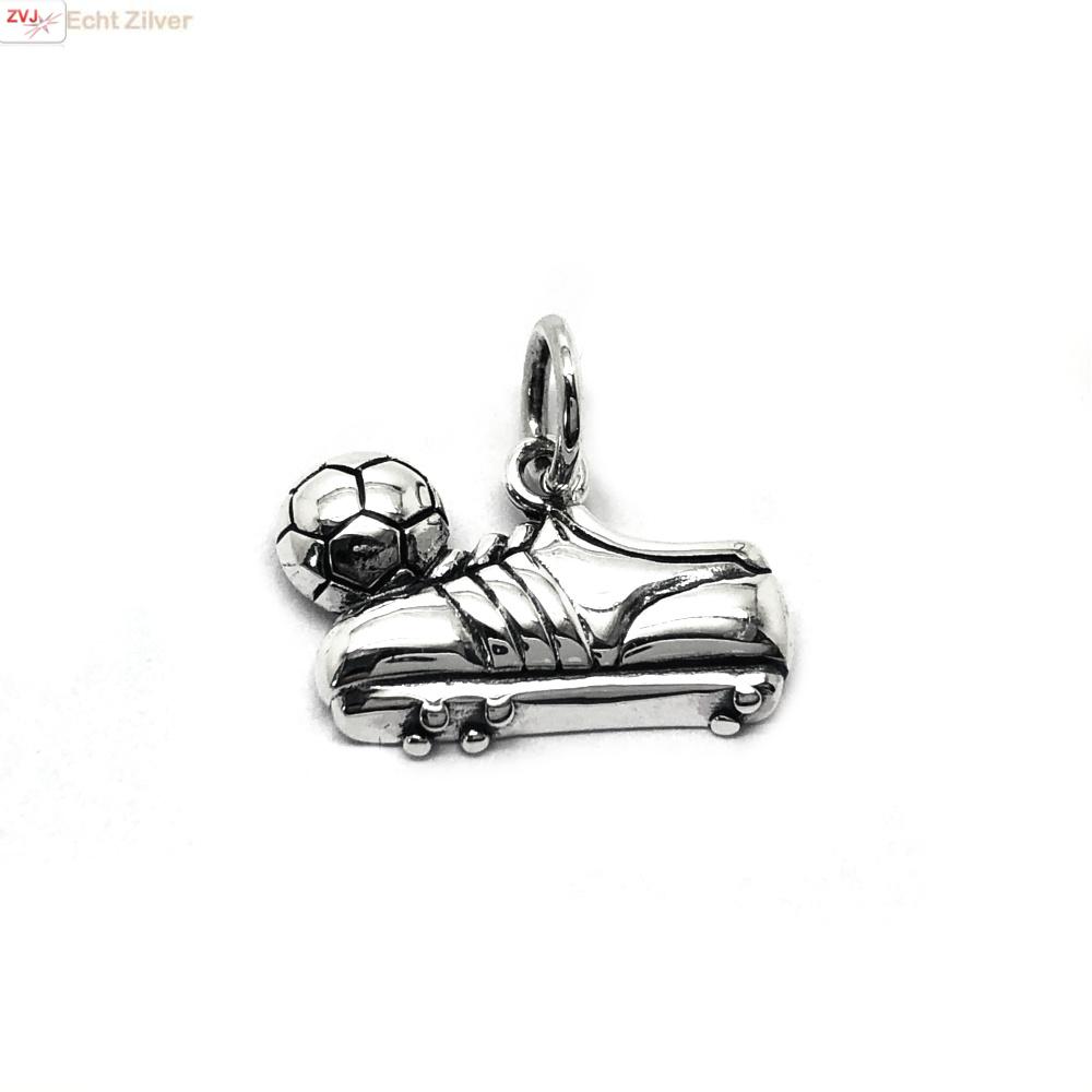 Zilveren voetbalschoen en bal kettinghanger-1