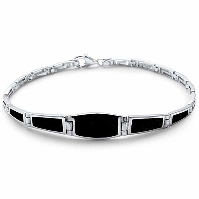 Zilveren zwarte onyx filigree armband