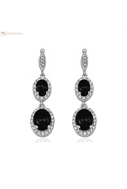 Zilveren elegante onyx zwarte oorhangers