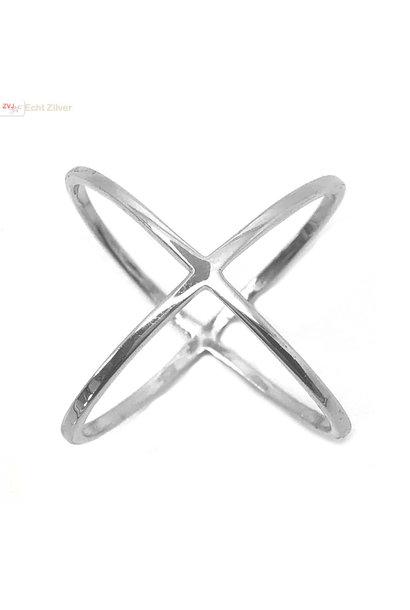 Zilveren cross ring