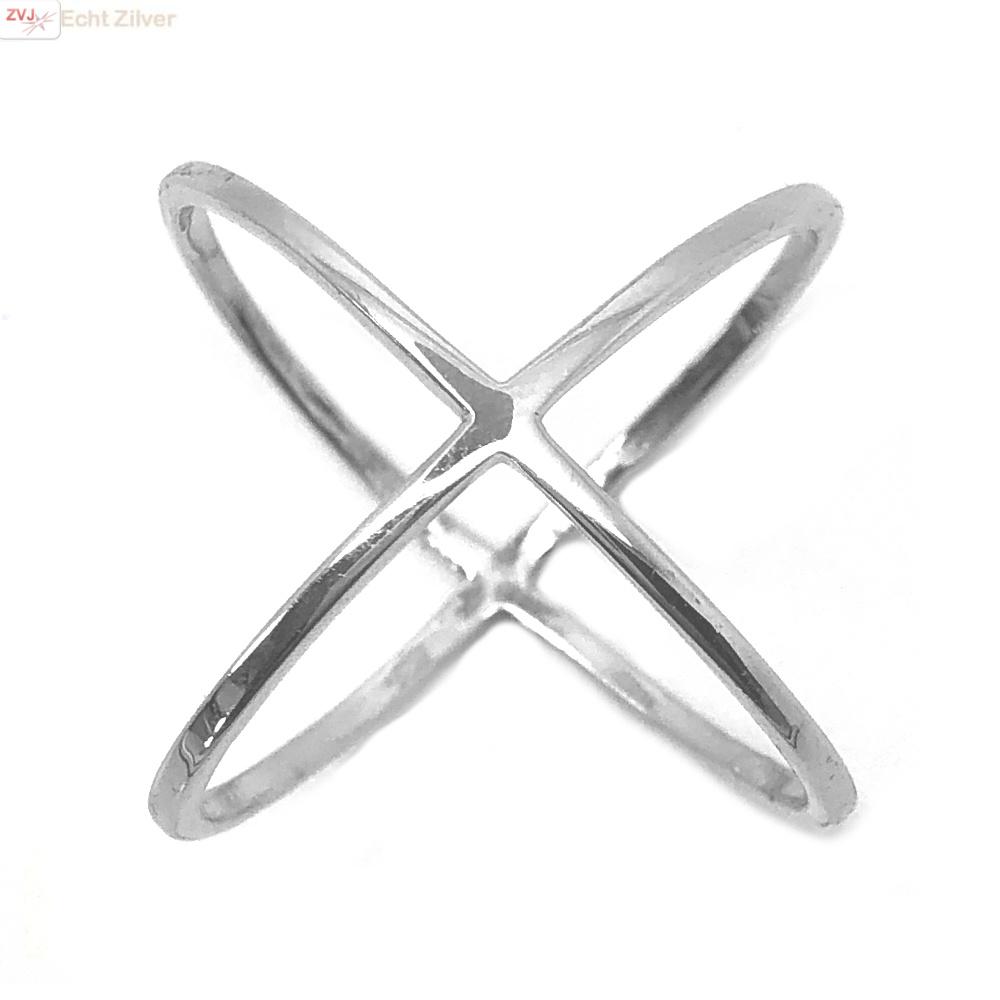 Zilveren cross ring-1