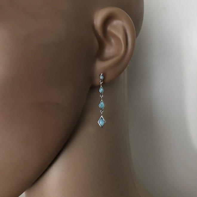 Zilveren larimar oorhangers