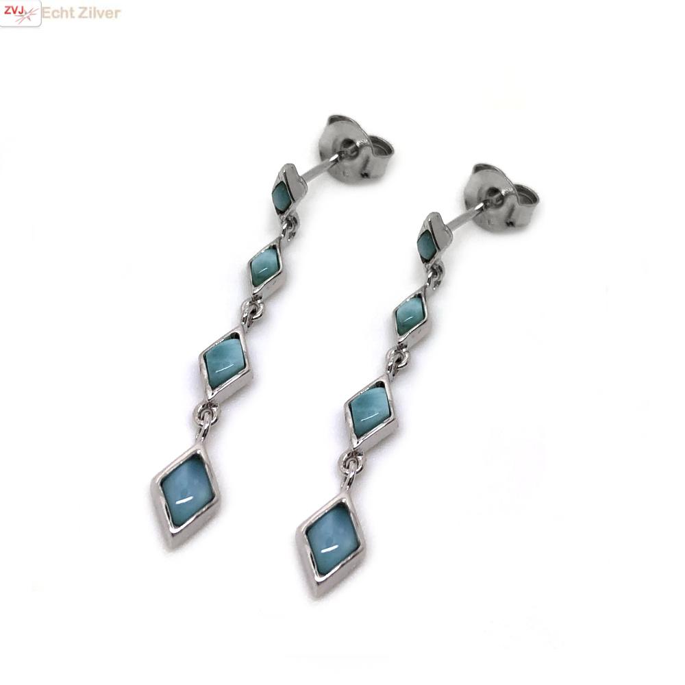 Zilveren larimar oorhangers-3