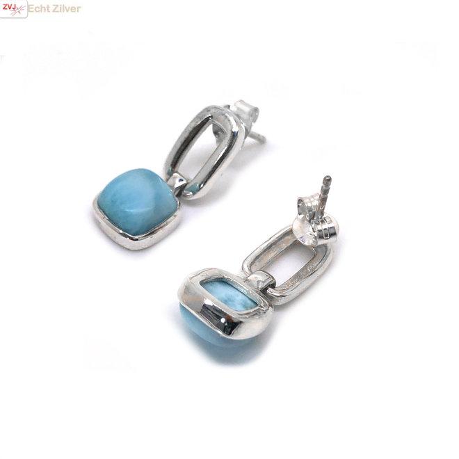 Zilveren vierkante Larimar oorhangers