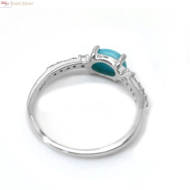 Zilveren blauwe Larimar en zirkoon ring