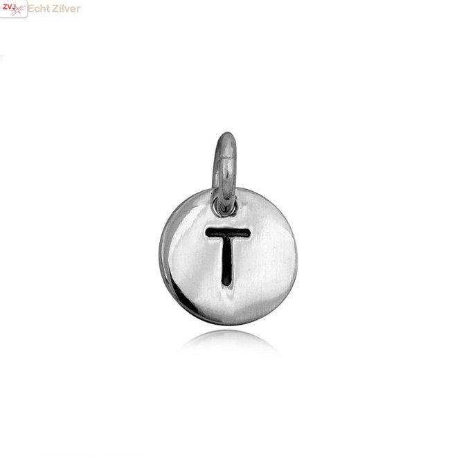 Zilveren initiaal T kettinghanger