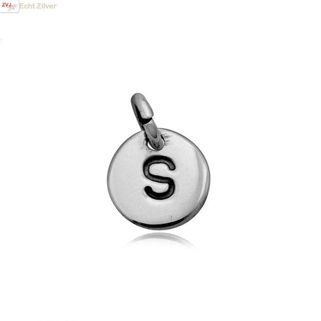 Zilveren initiaal S kettinghanger