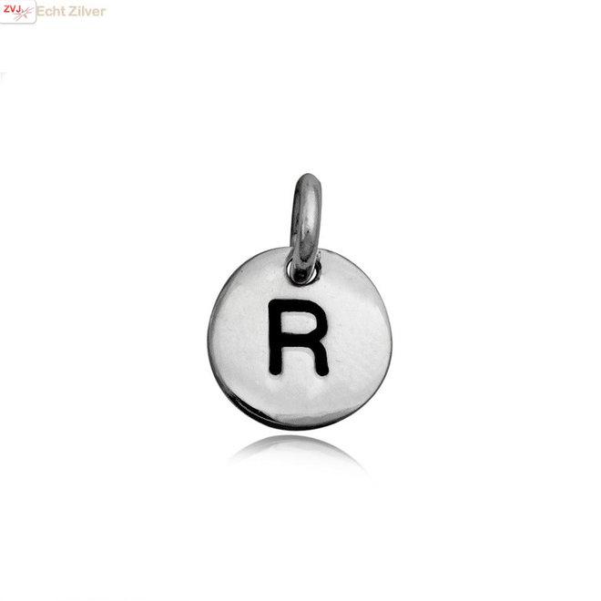 Zilveren initiaal R kettinghanger