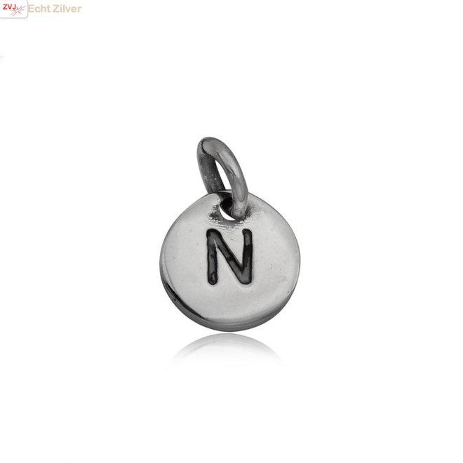 Zilveren initiaal N kettinghanger