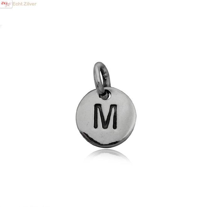 Zilveren initiaal M kettinghanger