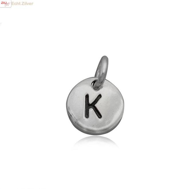 Zilveren initiaal K kettinghanger
