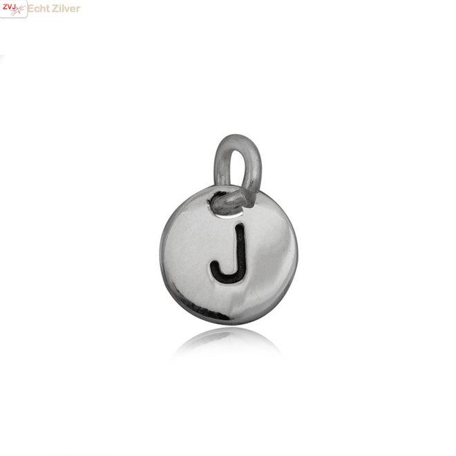Zilveren initiaal J kettinghanger