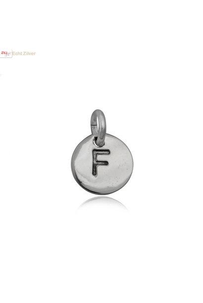 Zilveren initiaal F kettinghanger