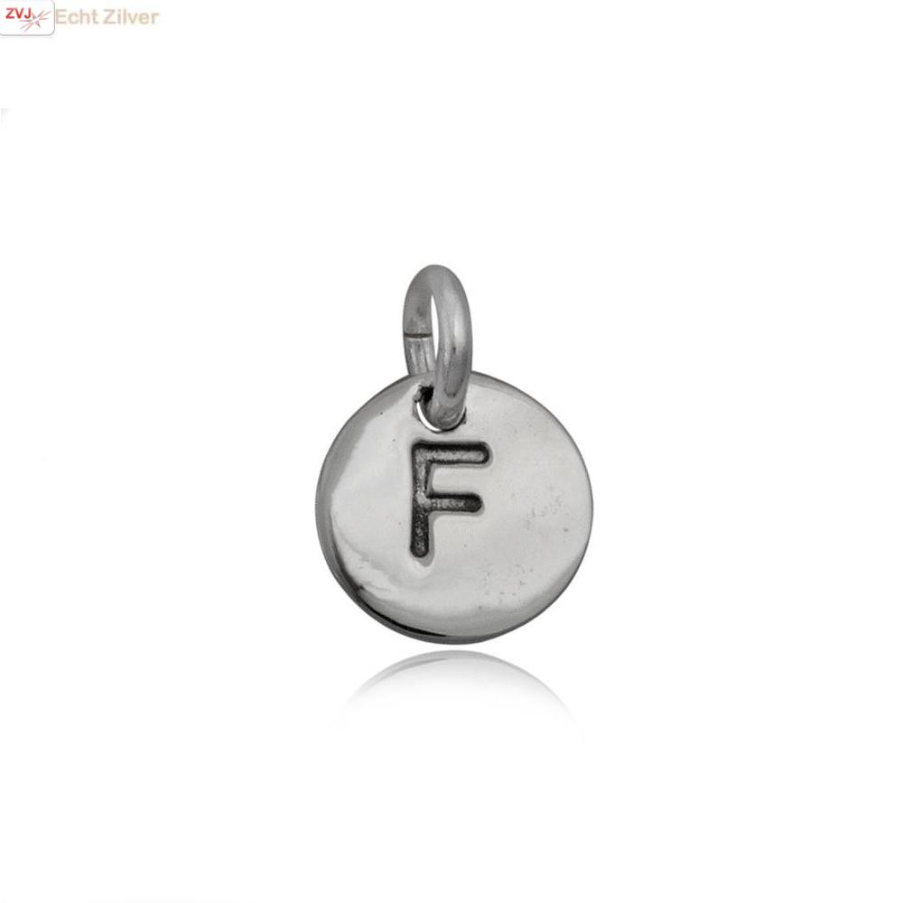Zilveren initiaal F kettinghanger-1