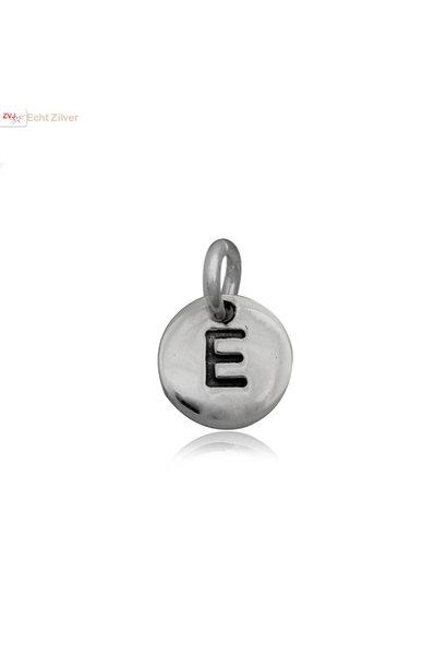 Zilveren initiaal E kettinghanger