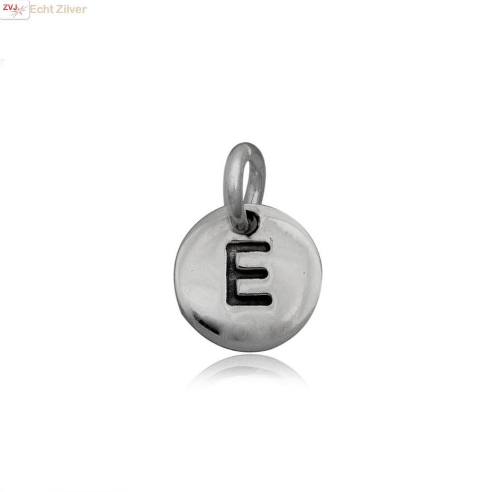 Zilveren initiaal E kettinghanger-1