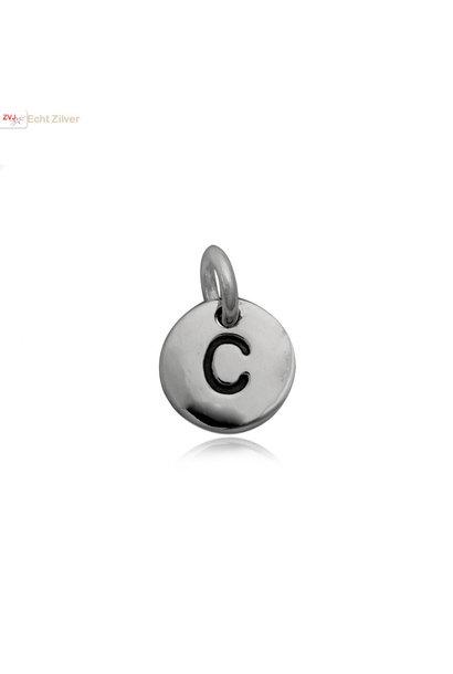 Zilveren initiaal C kettinghanger