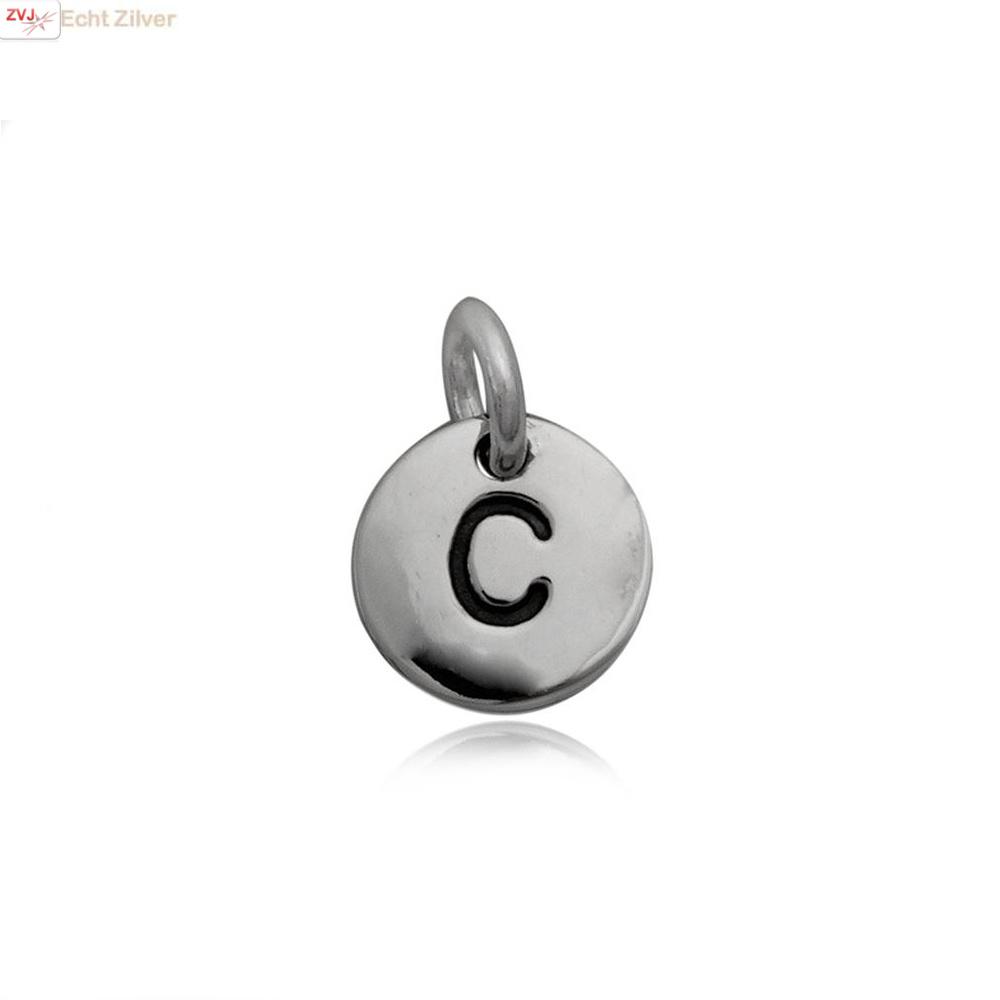 Zilveren initiaal C kettinghanger-1