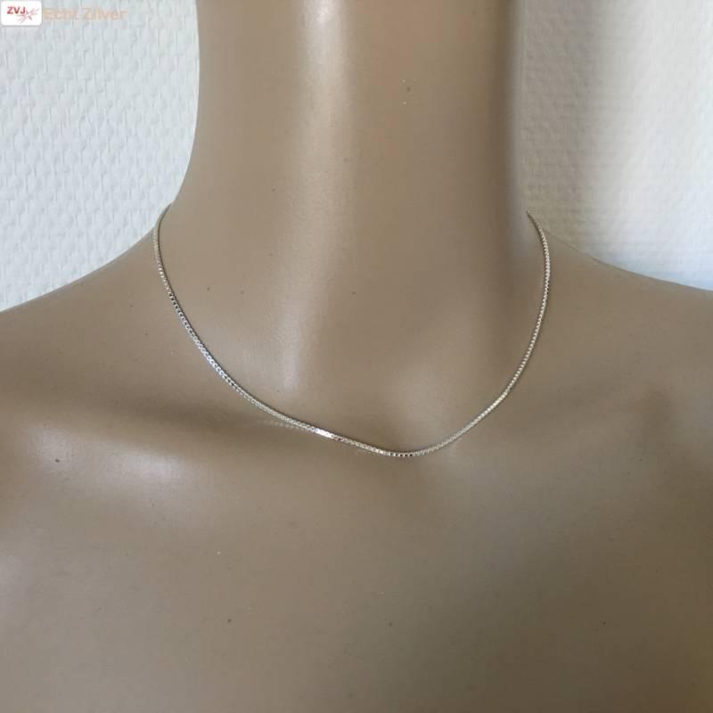 Zilveren box Venetiaan ketting 38 cm 1.2 mm-2