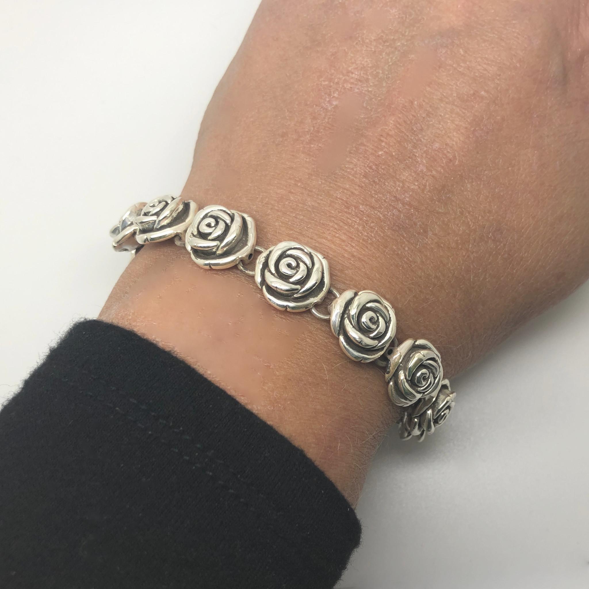 Zilveren rozen armband-2