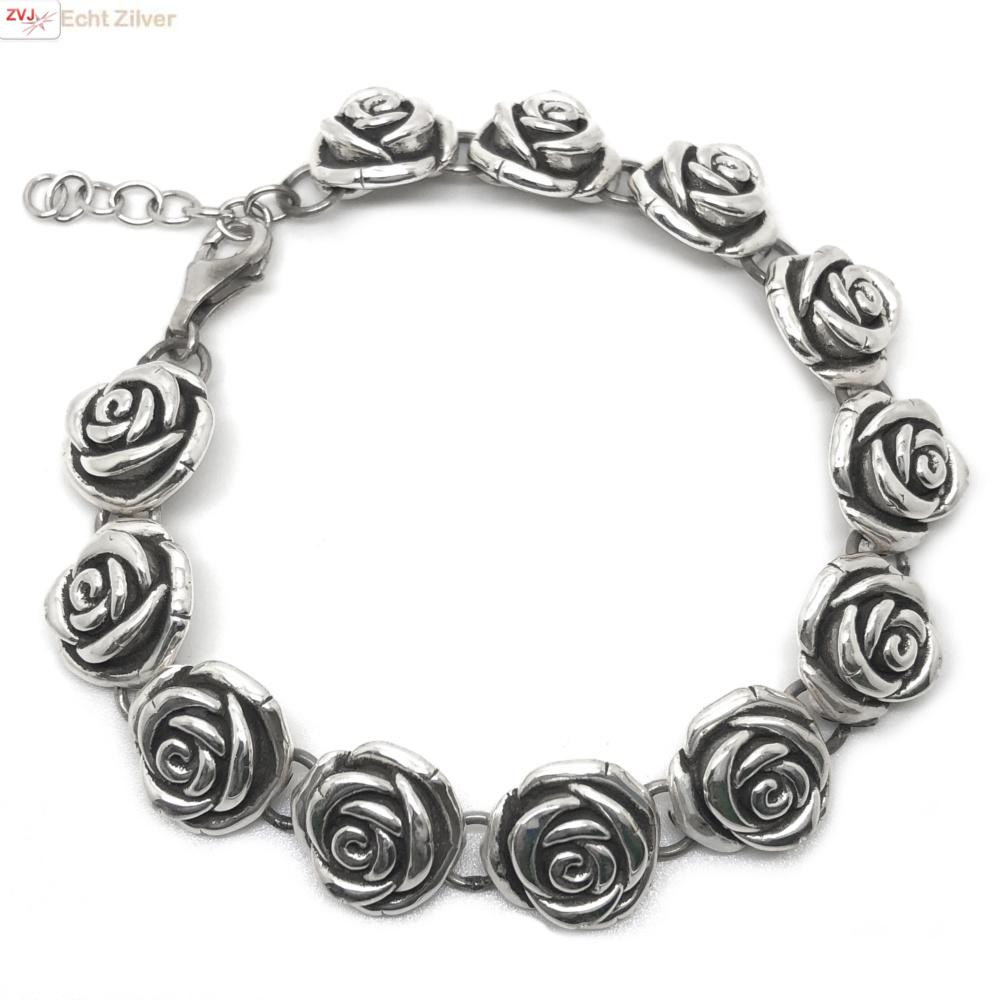 Zilveren rozen armband-3