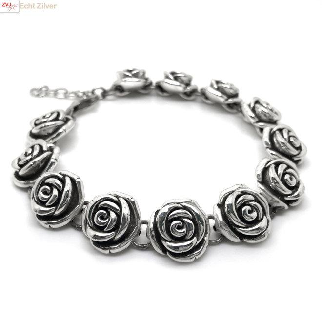 Zilveren rozen armband