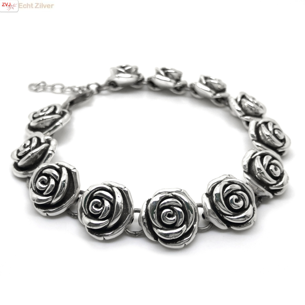 Zilveren rozen armband-1
