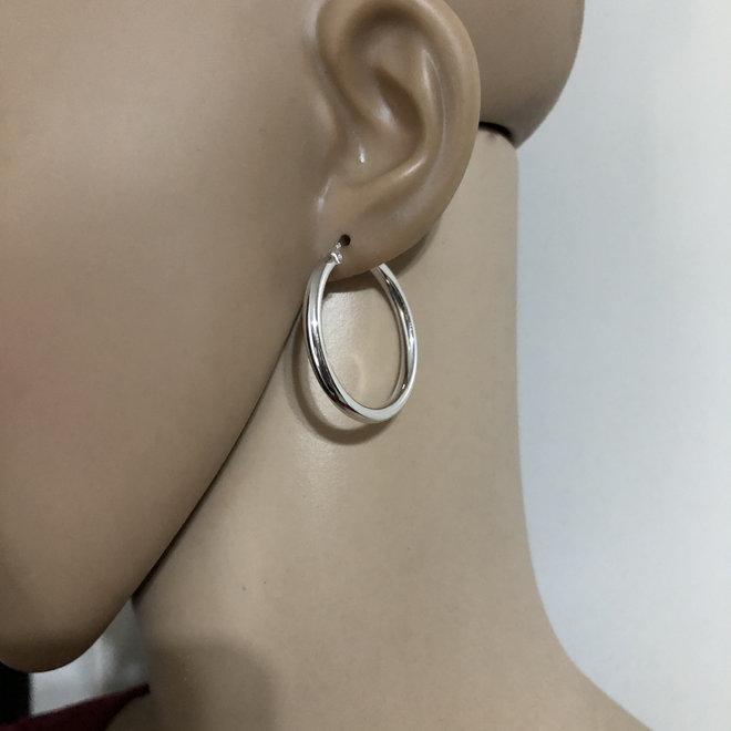 Zilveren scharnier oorringen 32 mm 3 mm breed