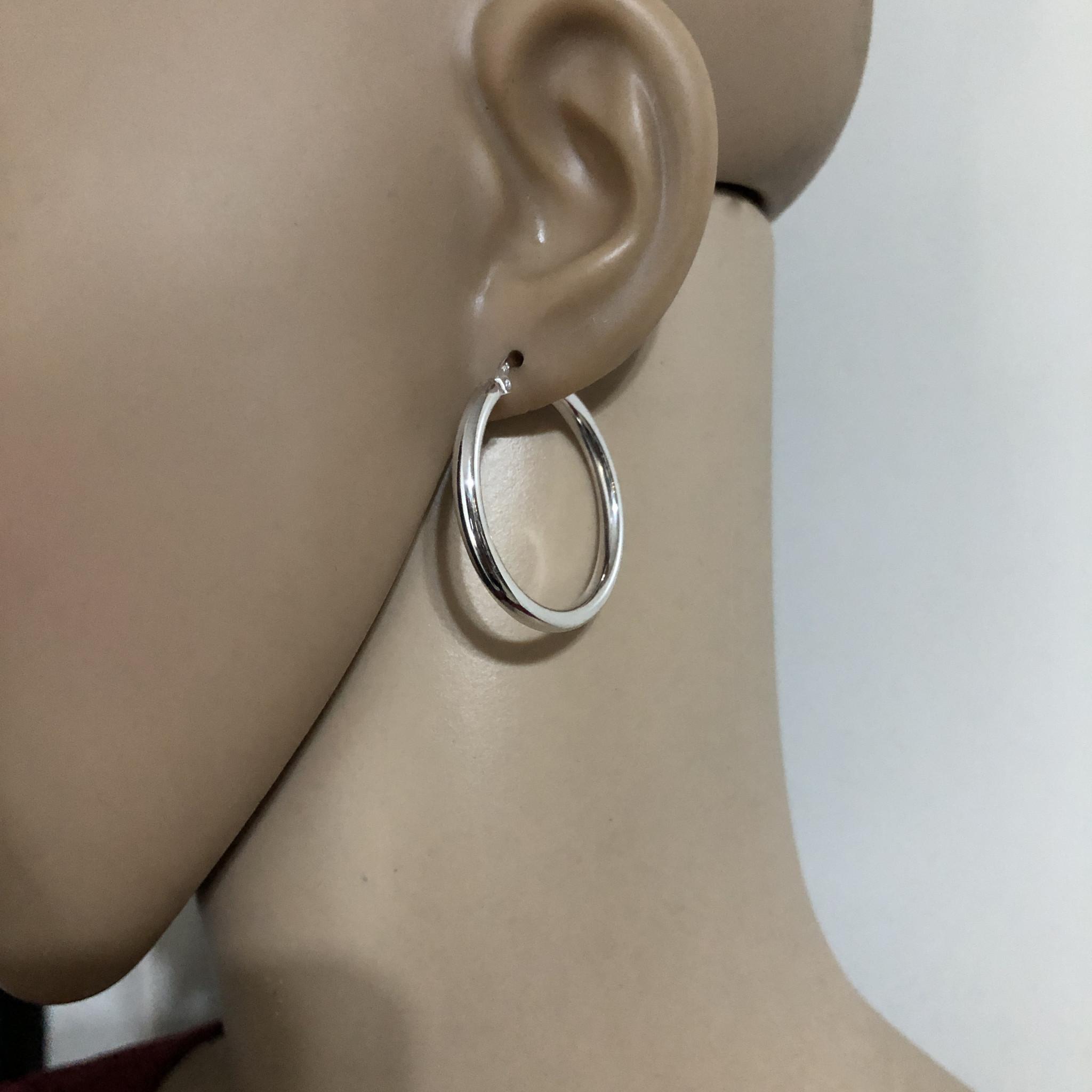 Zilveren scharnier oorringen 32 mm 3 mm breed-2