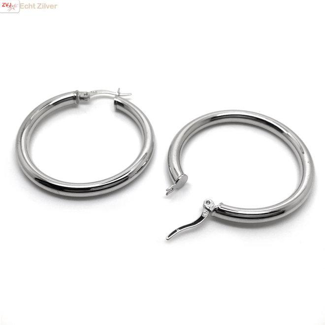 Zilveren scharnier oorringen 36 mm 3,5 mm breed