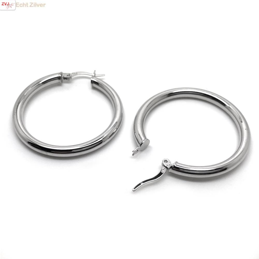 Zilveren scharnier oorringen 36 mm 3,5 mm breed-3
