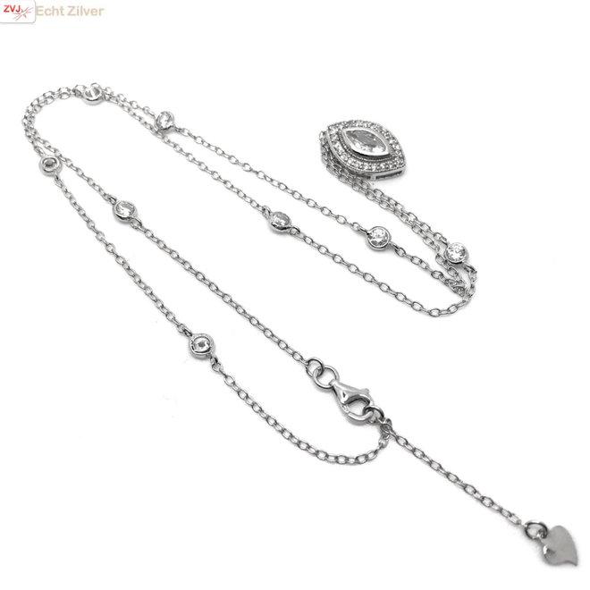Zilveren ketting met marquise CZ hanger
